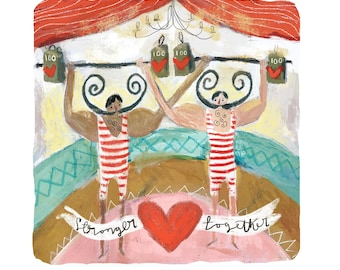 8x8 Giclee Print fine art limited edition circus love 'Stronger' by Heidi Griffiths
