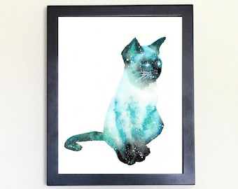 Cat Spirit Animal Art Print Watercolor 8x10 Galaxy Totem Guide