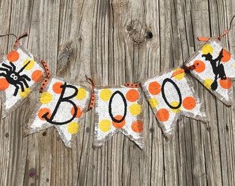 Halloween. Burlap. Boo. Banner. Handprinted. Spider. Witch.