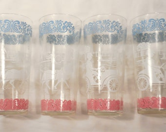 4 Horseless Carriage Clear Drinking Glasses Hazel Atlas