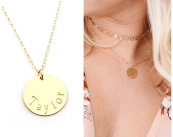Personalized Name Necklace - Bridesmaid Set of 7 - Hand Stamped Jewelry -  14k Gold Filled Custom Necklace