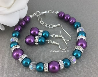 Teal and Purple Bracelet Teal Bracelet Bridesmaid Gift Bridesmaids Bracelet Jewelry Set Pearl Jewelry Teal Wedding Gifts