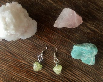 Rare Brazilianite earrings, dangle earrings, drop earrings, wire wrapped crystal, wire wrapped earrings, brazilianite jewelry, gift for her