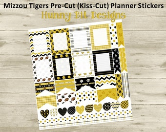 Erin Condren Planner Mizzou Tigers Football Precut Kisscut Peel and Stick Stickers Flags Rectangle Boxes Labels Black Gold