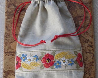 Poppies and Wheat Linen Drawstring Bag