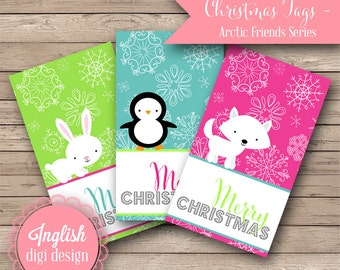 Printable Christmas Tags - Arctic Friends - INSTANT DOWNLOAD