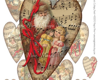 Christmas Music Collage Sheet - Instant Download - Hearts - Sheet Music - Red Ribbons - Digital Download - Printable