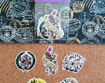 Flowery British Curses Stickers