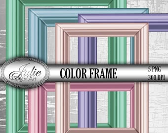 Picture Frames Clipart, Digital blue, green, pink molding Clip Art PNG for wedding, party invitation. Instant Download