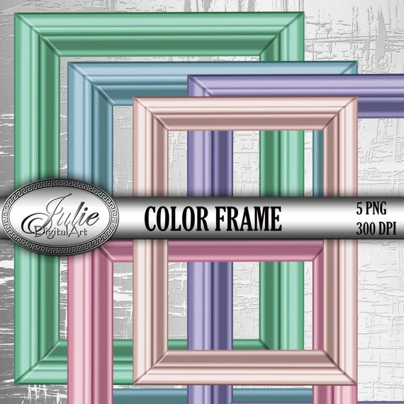 Picture Frames Clipart Digital blue green pink molding Clip
