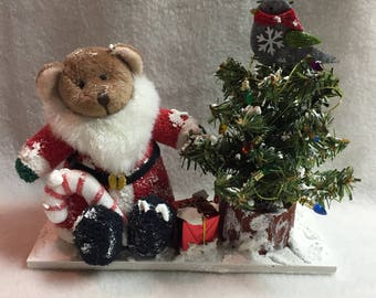 Bear in Santa Suit with Decorated Snowy Christmas Tree Display (#033)
