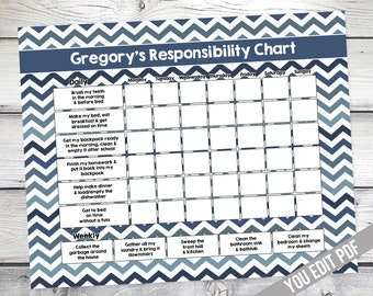 Chore chart for kids, Teen, Reward Chart, Responsibility Chart, Weekly Chore Chart, Behavior Chart, Kids chore chart printable, YOU EDIT PDF
