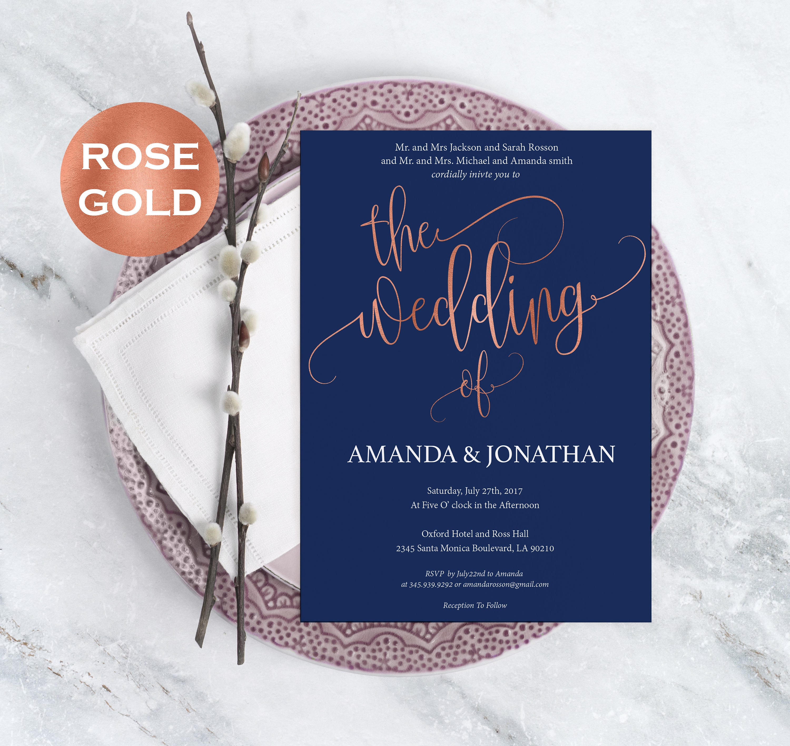 Navy Blue and Rose Gold Wedding Invitations Rose Gold