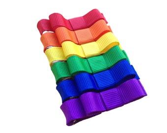 Set of rainbow hair clips - hair bows, hair clips, bows, baby bows, baby hair clips, hair bows for girls, hairbows, hair clips for girls