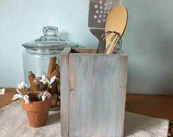 Wood Kitchen Utensil Holder, Housewarming Gift, Kitchen Decor, Farmhouse Decor