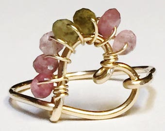 Tourmaline   Watermelon Tourmaline Ring    Heart Ring   Pink Tourmaline Ring  October Birthstone