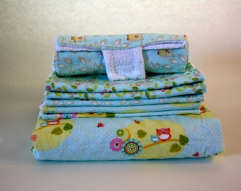 Baby Owls - Nap Blanket, Set of 6 Burp Cloths, and a Portable Diaper changer