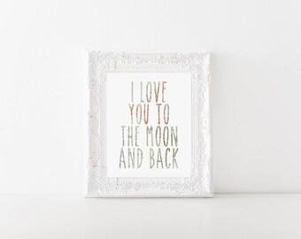 I love you to the moon and back World Map Printable, Digital Printable