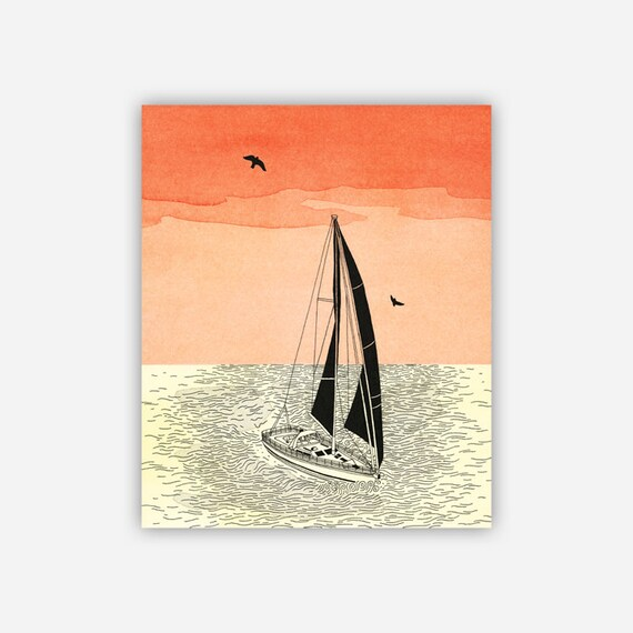 GUST - Archival Print Mounted on Bamboo Panel - Ready to Hang - Sailboat illustration with Orange Sky