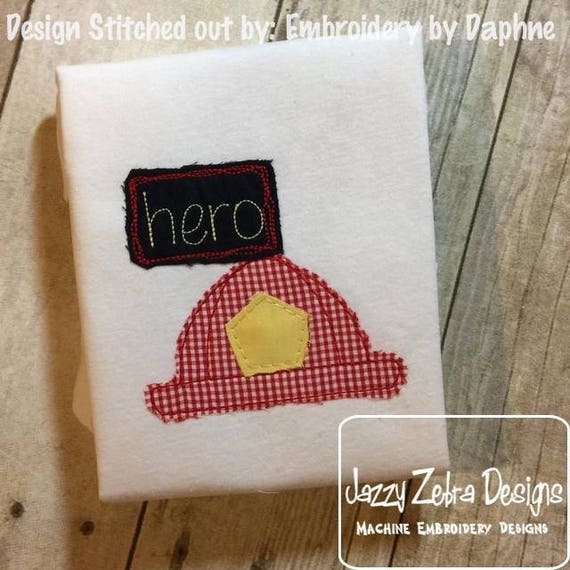 Hero Fireman Hat shabby chic appliqué embroidery design - fireman appliqué design - firefighter appliqué design - shabby chic appliqué
