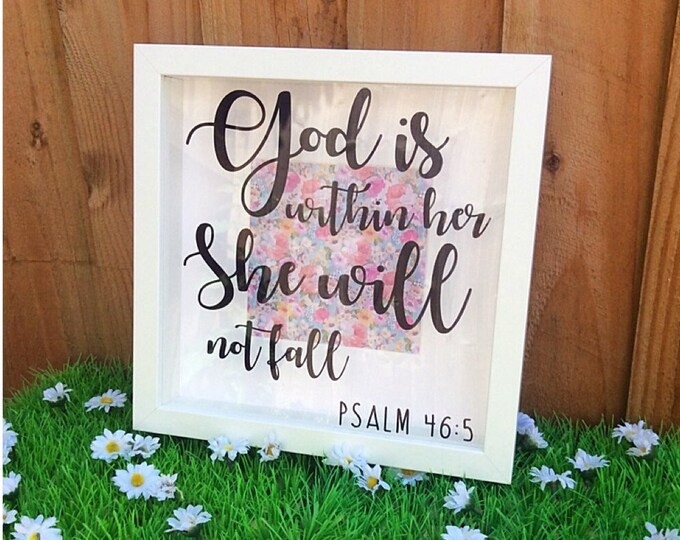 Featured listing image: Psalm 46 Bible Scripture Shadow Box Frame