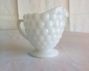 Bubble pattern milk glass cream pourer