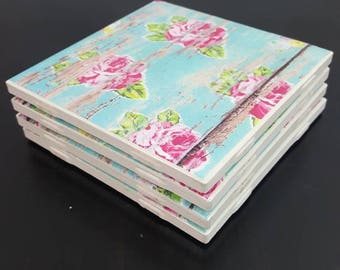 Handmade Tile Coasters set of 4 - Wooded/floral pattern