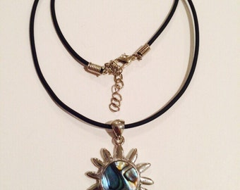 Waxed Leather Cord Sun Necklace.