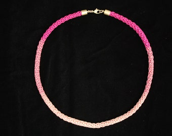 Brass Pink Crochet Necklace Ombre