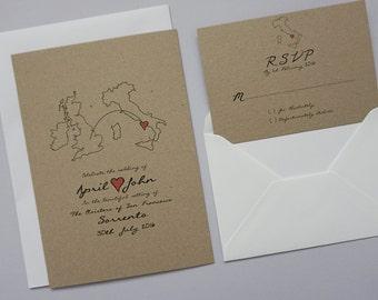Rustic Destination Wedding Abroad Invitation Set