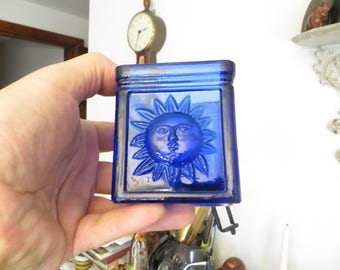 Cobalt Blue Sunshine Face Jar, sun face container,