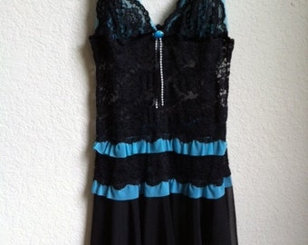 Black Lace And Teal Night Gown By Fredericks Of Hollywood