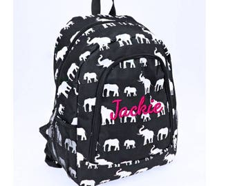 Personalized Black and White Elephant School Size Backpack Book Bag - Monogrammed  Name or Initials or 57dea73c71498