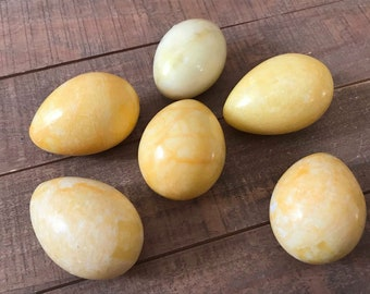 Marble Easter Eggs, Egg Decor, Egg Decor, Yellow Eggs, Easter Eggs, Set of Six