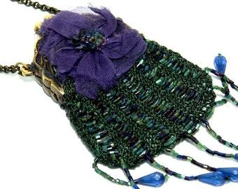 Vintage Purse  Beaded Purse  Evening Bag Vintage Green Purse, Small Purse, Coin Purse, Green Beaded Purse, Gifts for Her,