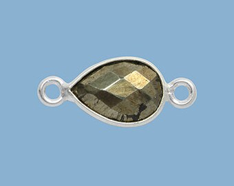 1ea. Small 10x7mm Pyrite and Solid Sterling Silver Pear Bezel Connector Link Birthstone