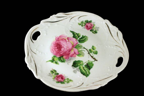 Cake Plate, Bavaria, Lehmann,  Hand Painted, Floral Pattern, Embossed, Double Handled, Porcelain, Pink Rose, Gold Trimmed, Display Plate