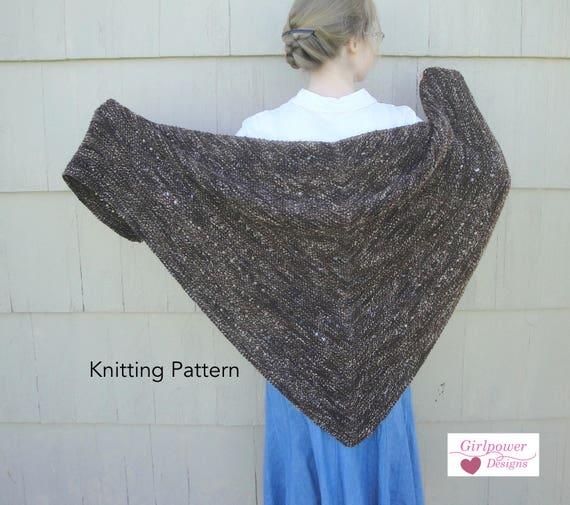 Espresso Shawl Knitting Pattern Easy Knit Garter Stitch Eyelets