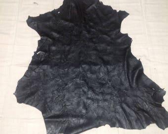 SHRM534.  Black Embossed Leaves Leather Lambskin