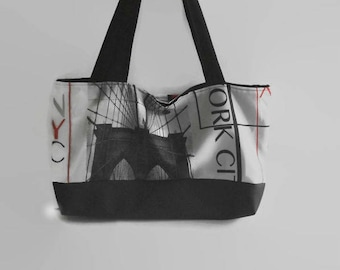 small tote bag in black and multicolor fabric