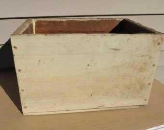 Vintage Ammo Wooden Box / Retro Storage / Beige Tan Weathered Organizer or Christmas Gift Box