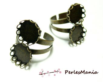 5 ring 12mm BRONZE DOUBLE CABOCHON ref 30310 wave