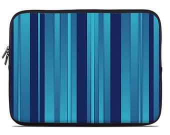 Striped laptop sleeve, blue laptop case, laptop cover, to fit  10, 13, 15, 17 inch, computer sleeve, coworker gift