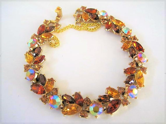 Crown Trifari Bracelet, Topaz Rhinestones, Link Bracelet, Aurora Borealis Center Stones, Vintage Trifari