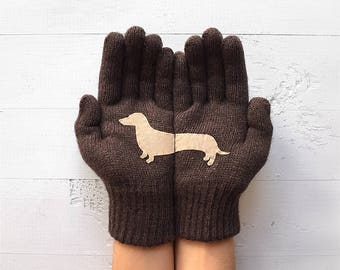 Dachshund Gift, Winter Gloves, Winter Sale, Gift For Her, Pet Lover Gift, Pet Gift, Gift For Girlfriend, Dog Lover Gift, Women Gloves