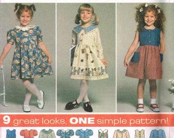 90s Girls Dress Pattern Simplicity 7097 Design Your Own Button Front Short Dress Summer Dress Easter Dress Uncut Vintage 1996 Sewing Pattern