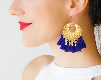 Tassel Earrings Royal Blue Earrings Statement Jewelry Gold Earrings Girlfriend Gift for Her Mom Gifts for Wife Sister Gift Trending / TANIA