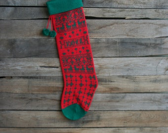 "Vintage Red & Green ""Noel"" Christmas Tree Knit Christmas Stocking"