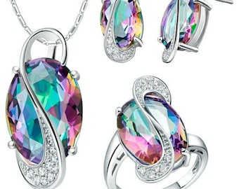 Colored Jewelry set 925 sterling silver