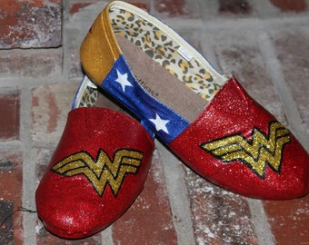 Wonder Woman Sparkly Glitter Canvas shoes